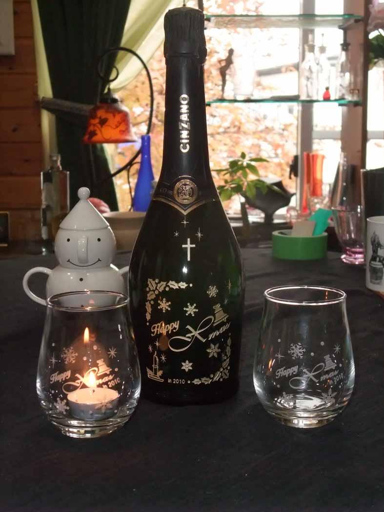 クリスマスボトル彫刻